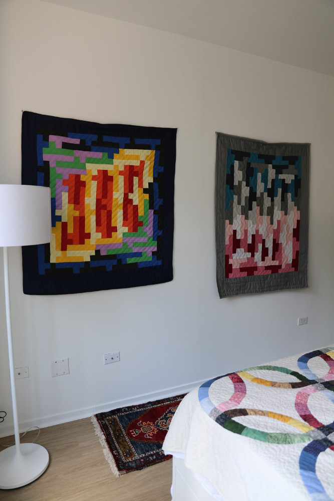 photo of my mom's two quilts
