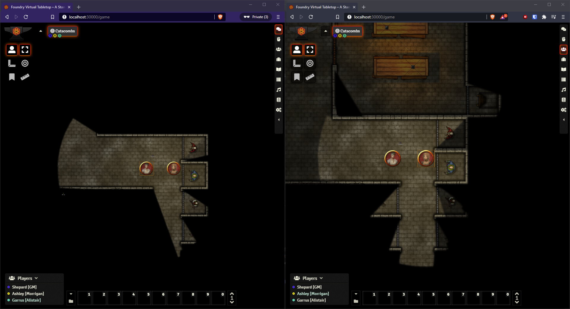 Demonstration screenshot. The left user has Fog Exploration disabled, and the right user has it enabled.