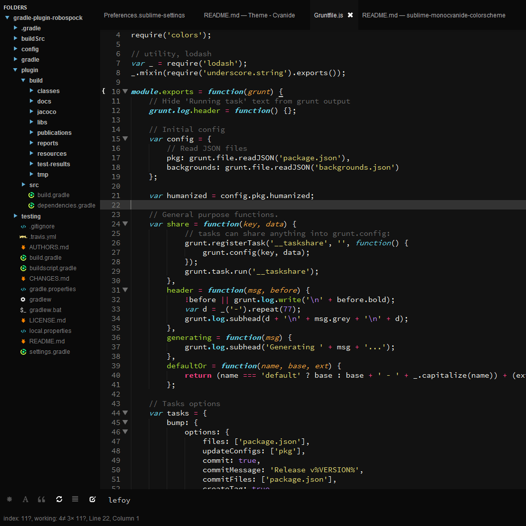 screenshot: gruntfile.js