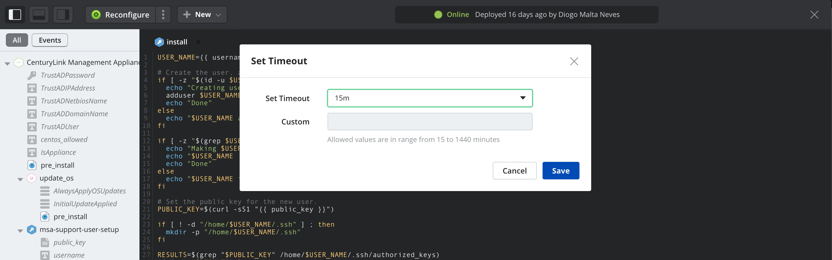 Set or modify execution timeout in lifecycle editor