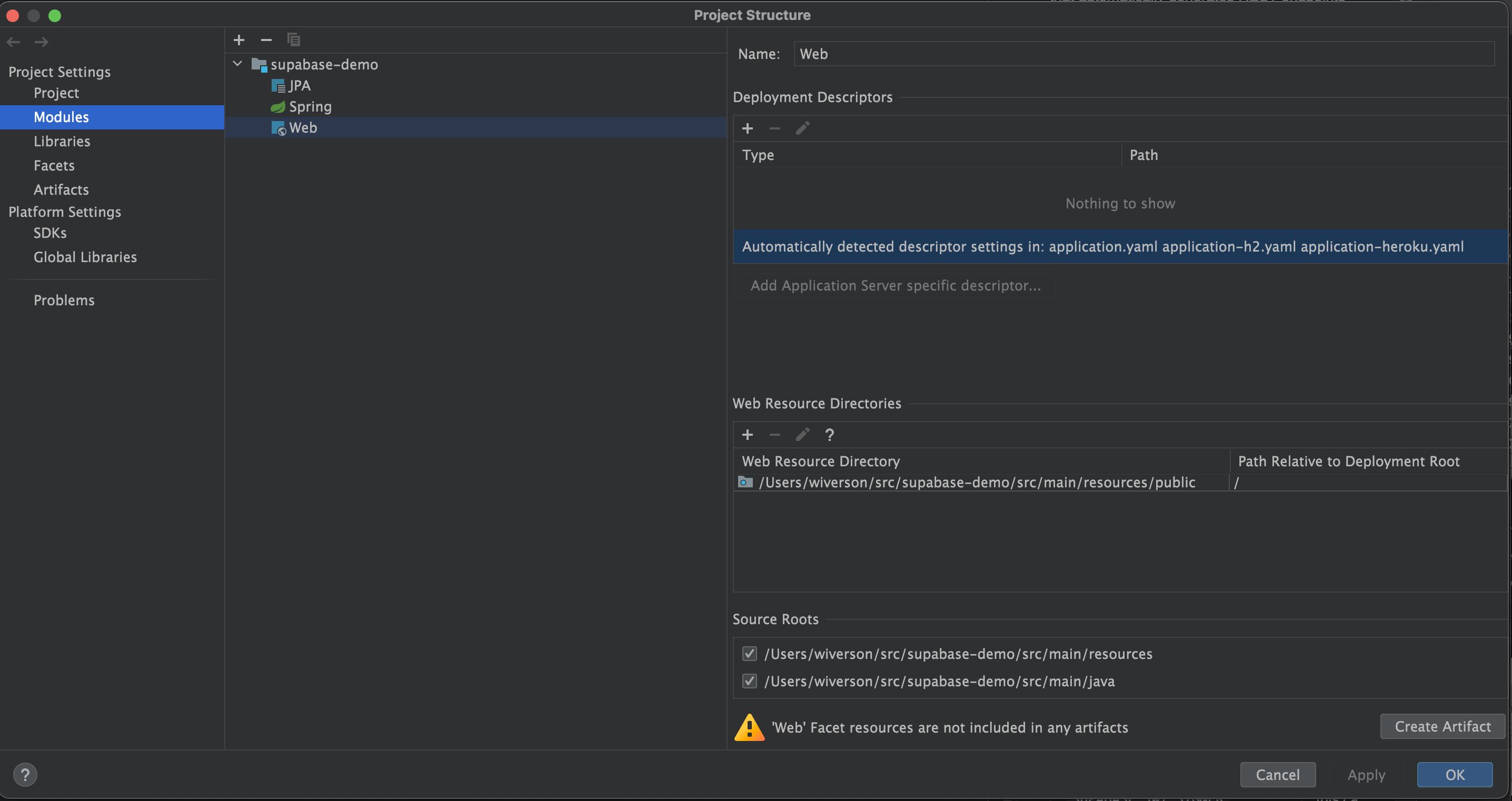 IntelliJ Web Module Setup