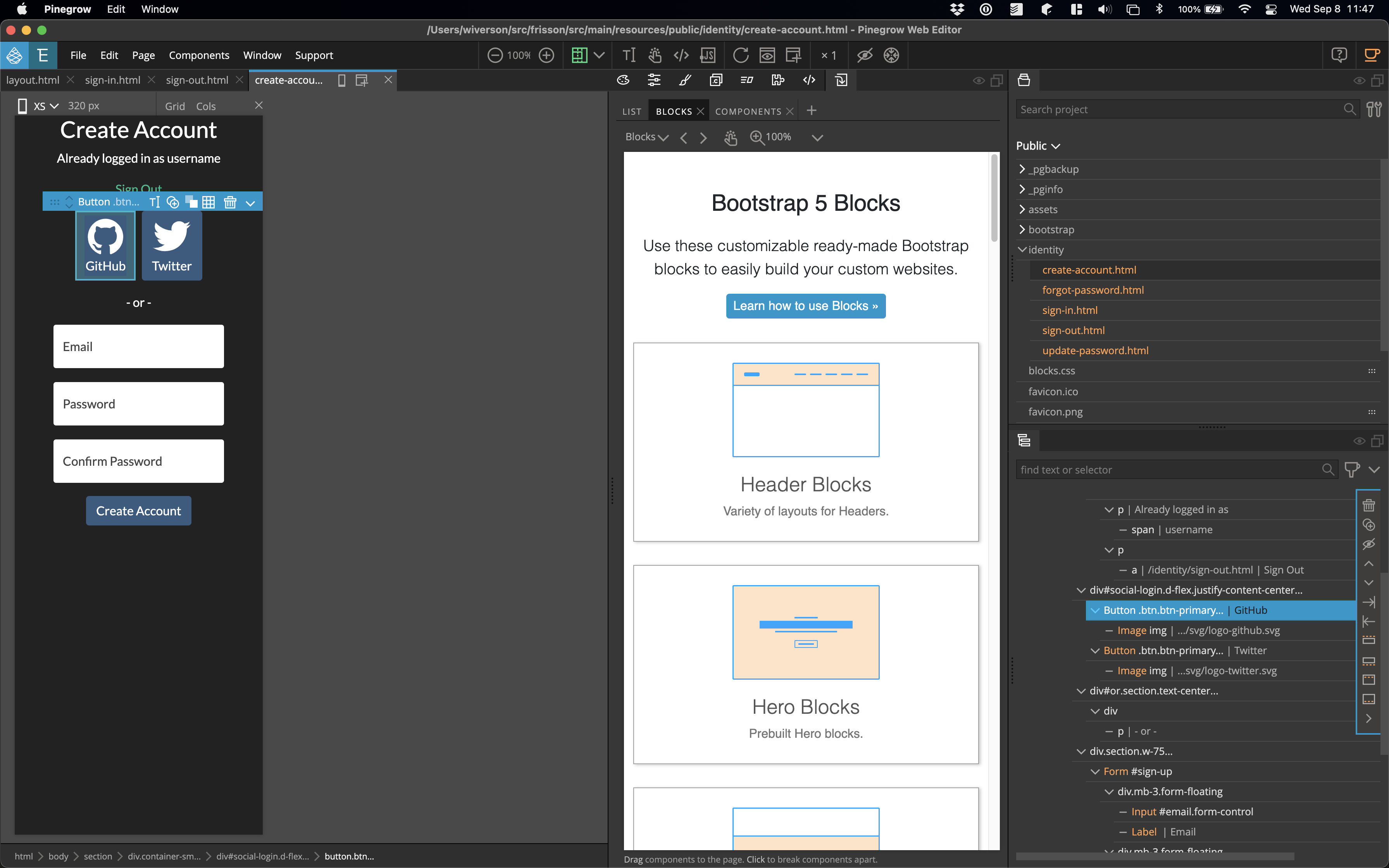 Mobile and Bootstrap Blocks