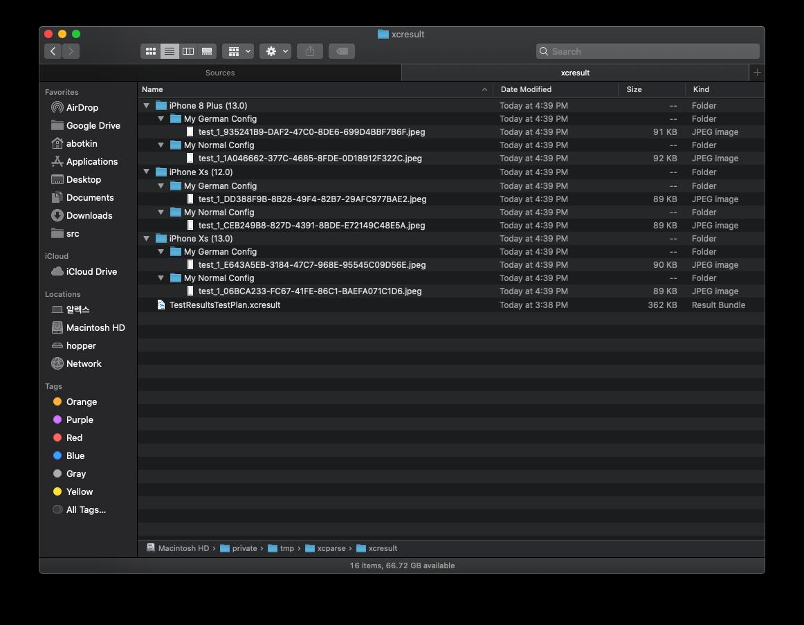 Screenshots exported into folders