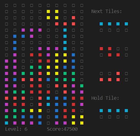 Julia REPL Screenshot of a lost game of REPLTetris