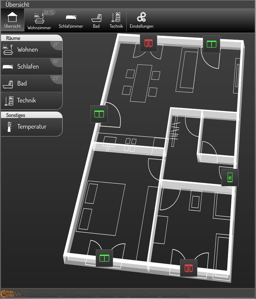 Screenshot of Flat Demo with Metal design running on version 0.9.1