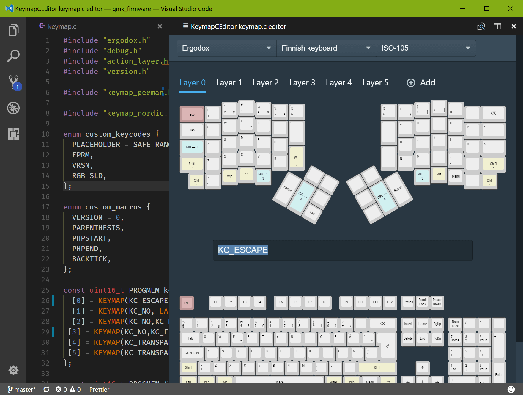 Screenshot of the KeymapCEditor in action