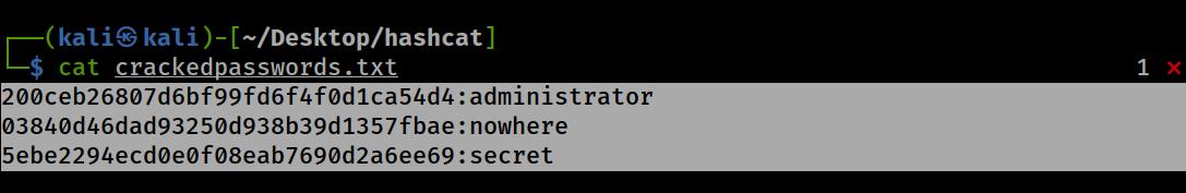 Basic wordlist attack res