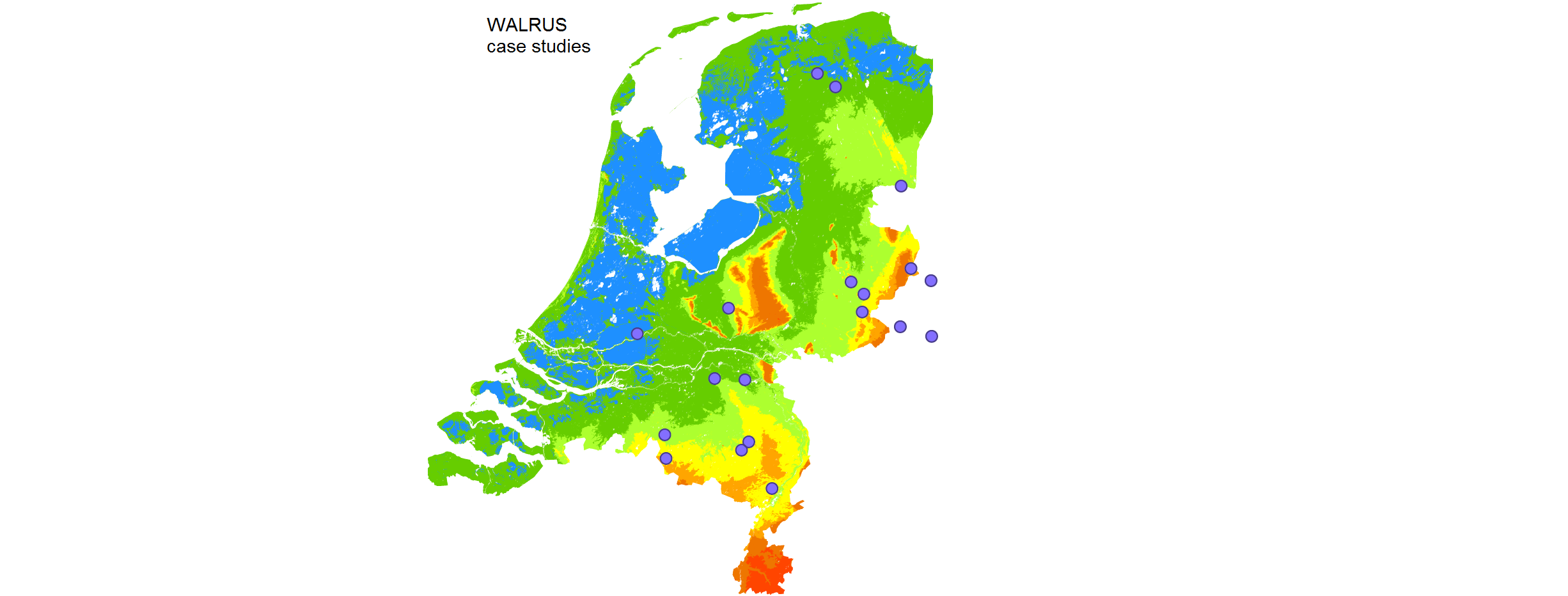 Locations of catchments where WALRUS has been applied.