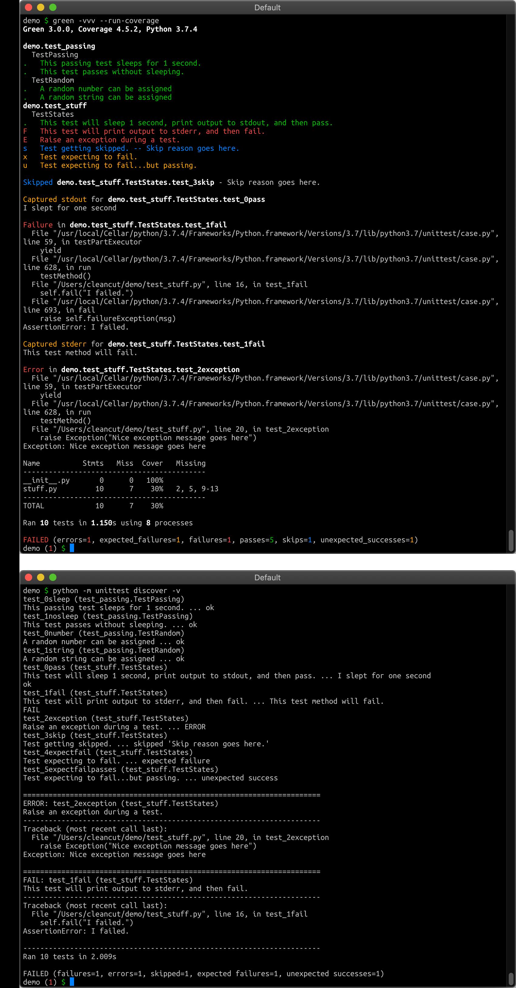 Python Unit Test Output