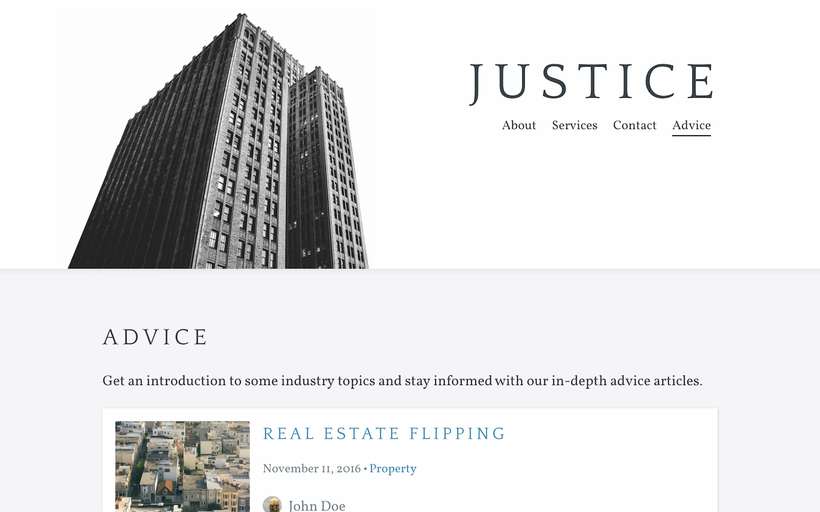 Justice template screenshot