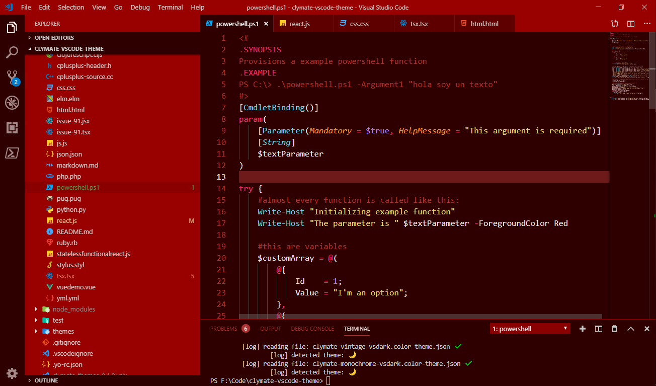 Clymate theme for VS Code