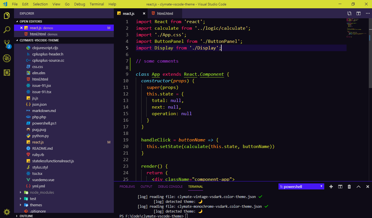 Clymate Pop Neon theme for VS Code