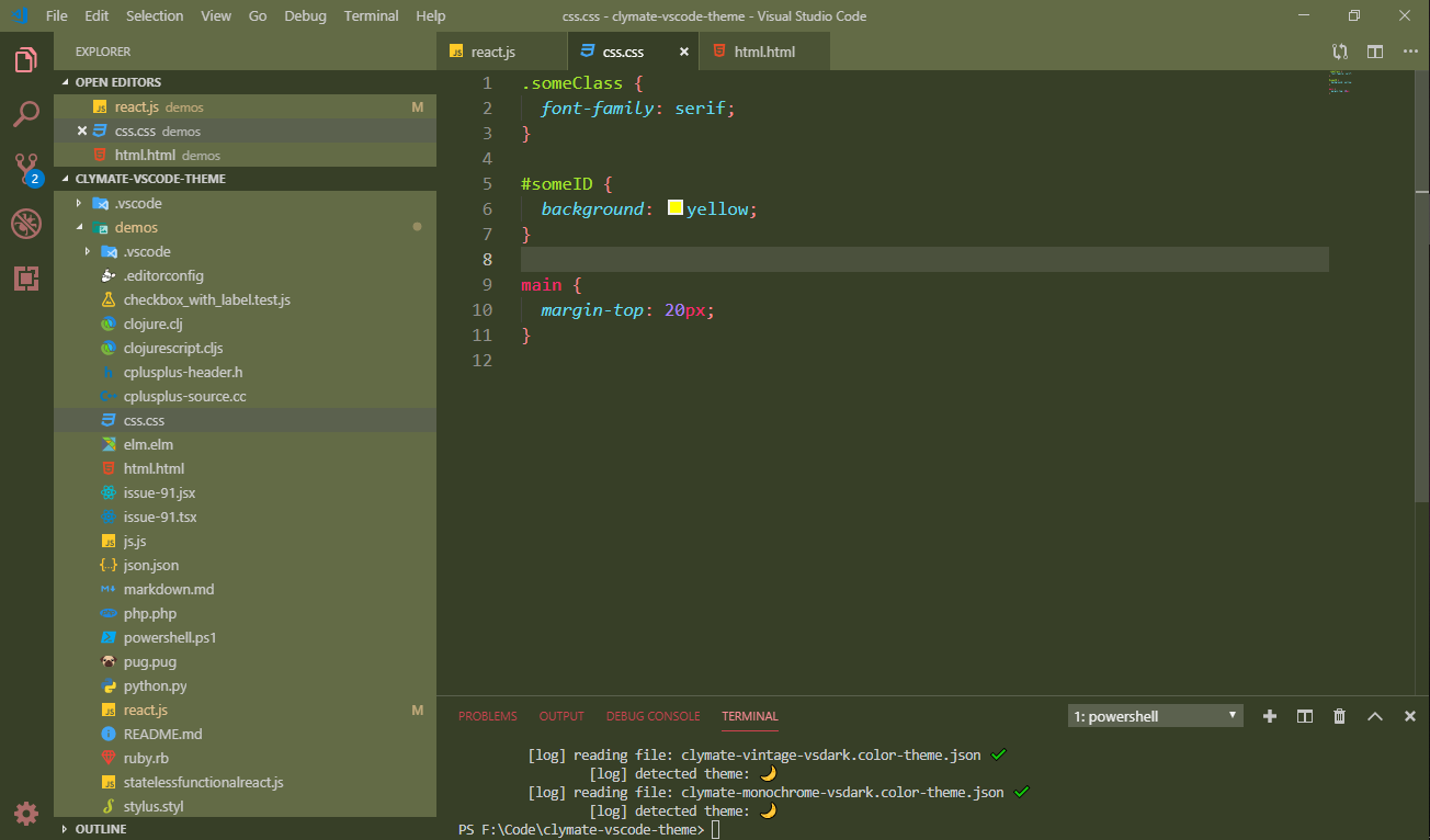 Clymate Vintage theme for VS Code