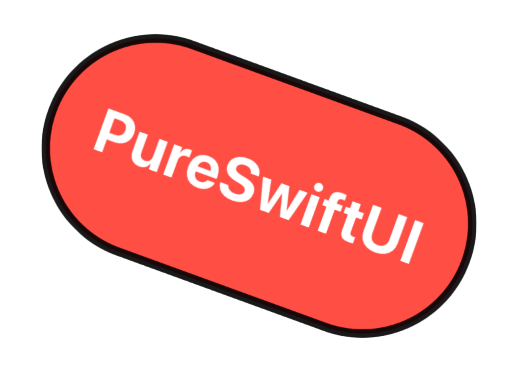 Label with white text and a red background and rounded corners rotated slightly clockwise