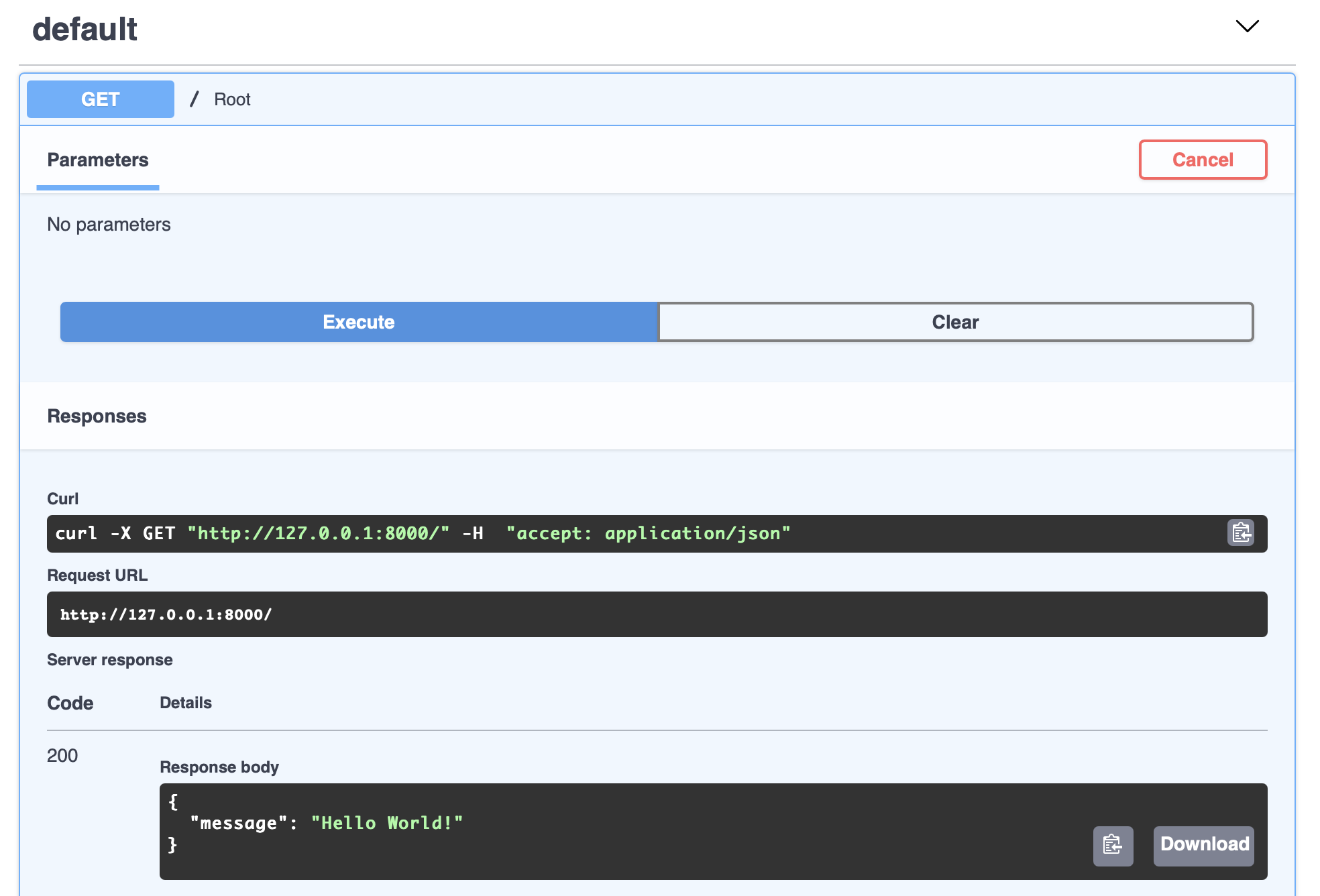 Landing page of the auto-generated API docs