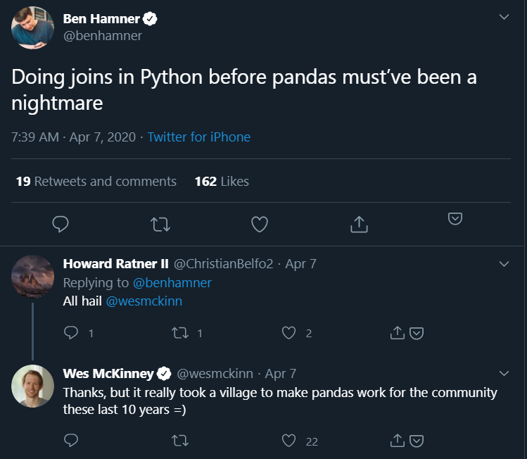 Joining before Pandas Twitter