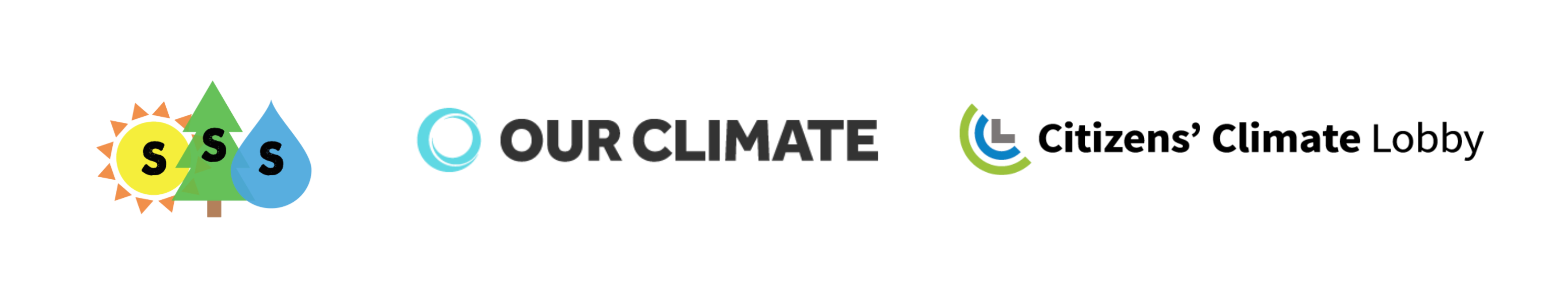 Students for a Sustainable Stanford, Our Climate, and Citizens' Climate Lobby logos