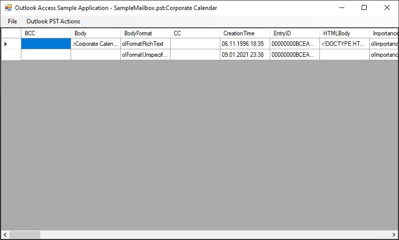 Screenshot of sample application