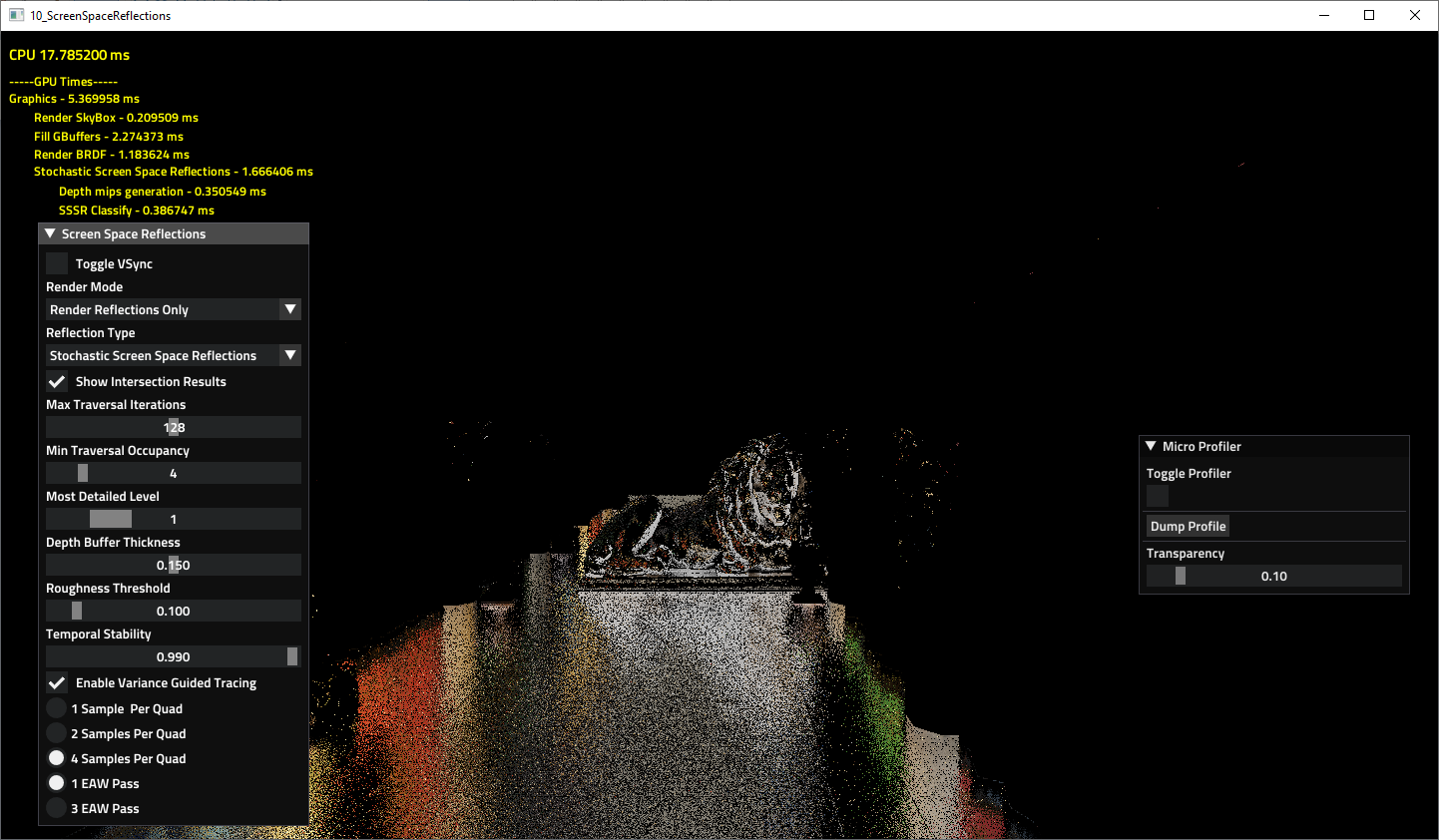 AMD FX Stochastic Screen Space Reflections before denoise