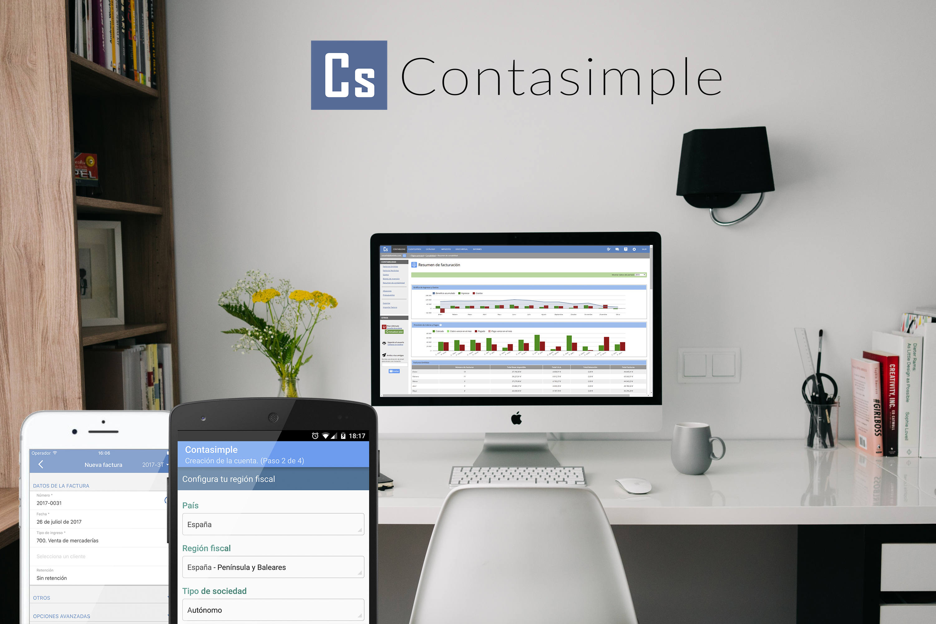Contasimple is available for desktop, web and mobile.