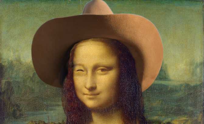 Mona Lisa Winking and with Cowboy Hat