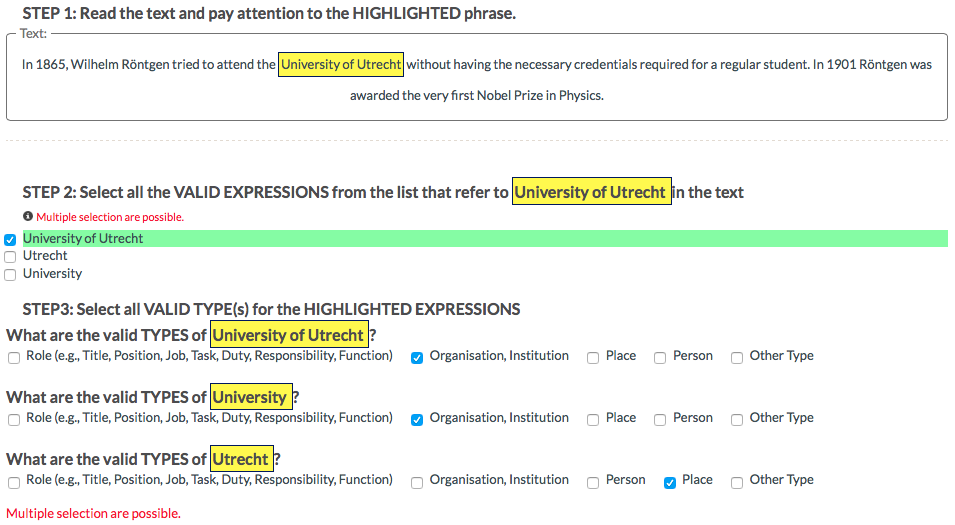 Fig.2: CrowdTruth Workflow for Identifying Valid Named Entity Expressions and their Type.