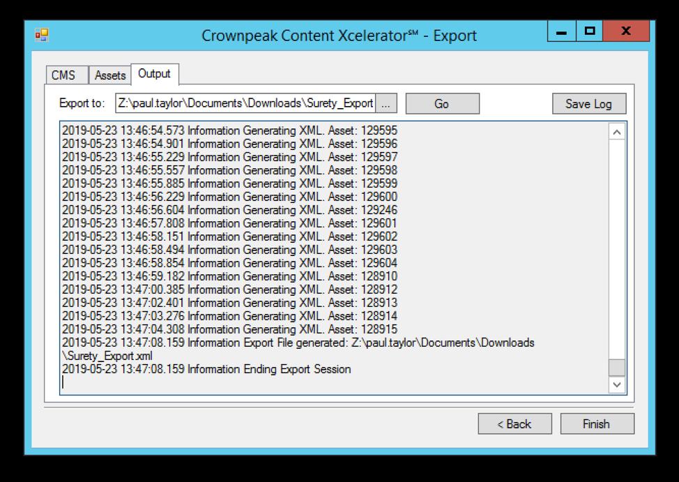 Content Xcelerator℠ Export Process
