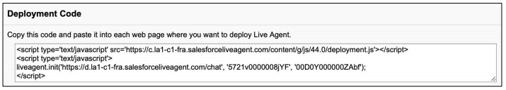 Live Agent Deployment Code