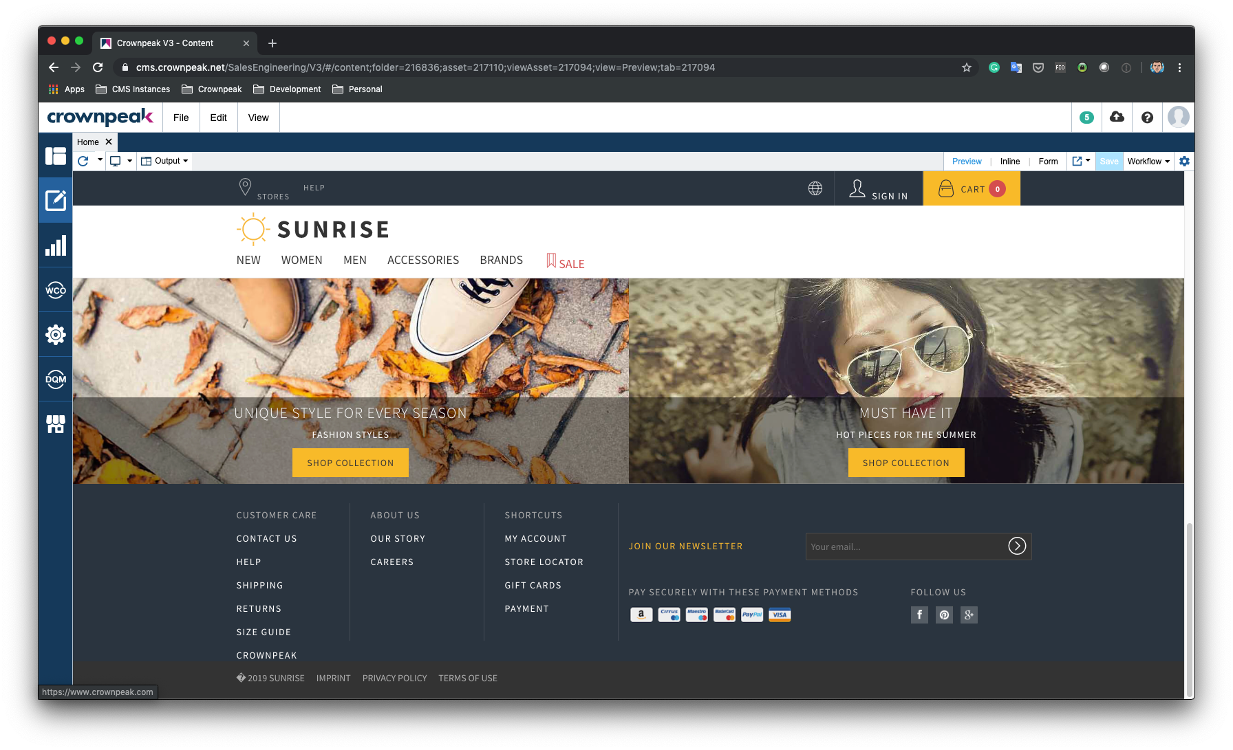 Sunrise SPA Inline Showing Footer Links Changed
