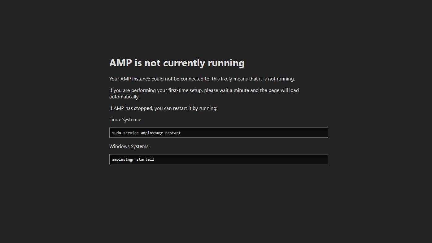 AMP not yet running