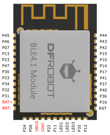 Fig1: DFRobot_BLE4.1_Module PinOUT