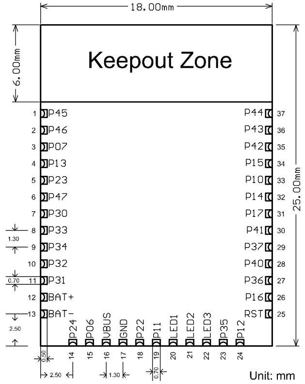 Fig3: DFRobot_BLE4.1_Module Dimension
