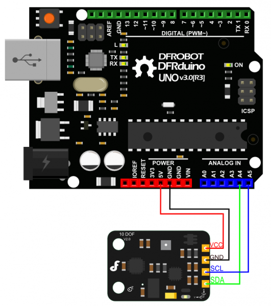 10 DOF IMU Sensor V2.0 Connection Diagram