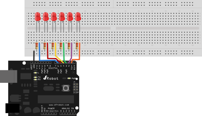 Connect 6 LEDs to Ardunio