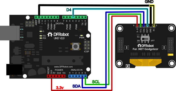Fig: Arduino Uno and Oled 2864