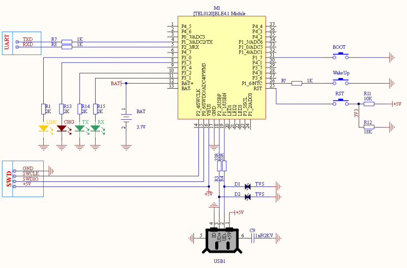 Fig1: BLE4.1 Minimum System Schematic