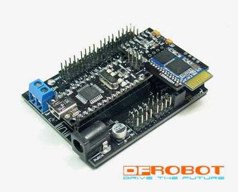 Figure A: DF-Bluetooth Module with Arduino Nano IO Expansion Shield (SKU: CF-DF-RoboduinoNanoIO)
