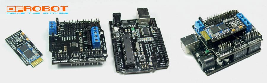 Figure B: DF-Bluetooth Module with Arduino Duemilanove IO Expansion Shield (SKU: CF-DF-RoboduinoIOV2.0)