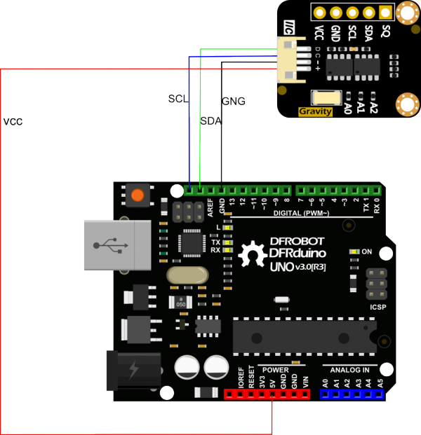 Gravity: I2C SD2405 RTC Module Arduino Connection Diagram