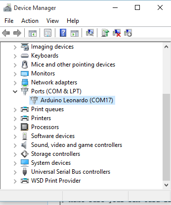 Shown as Leonardo in Device manager