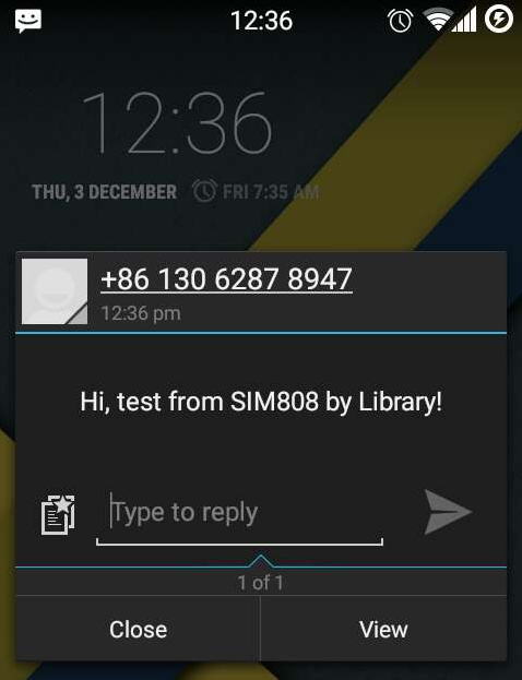 Received the test message\!
