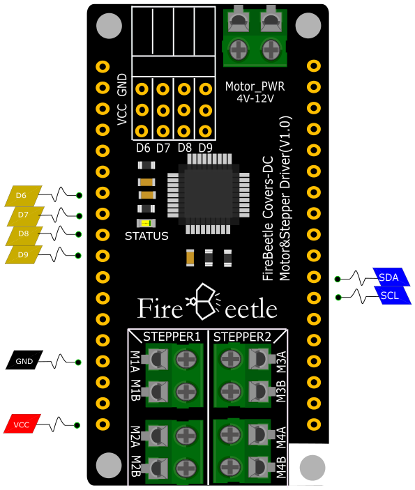 Fig3: DFR0508 FireBeetle Covers-DC Motor\&Stepper Driver
