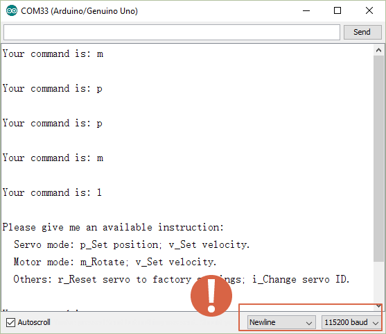 Send command after uploading.