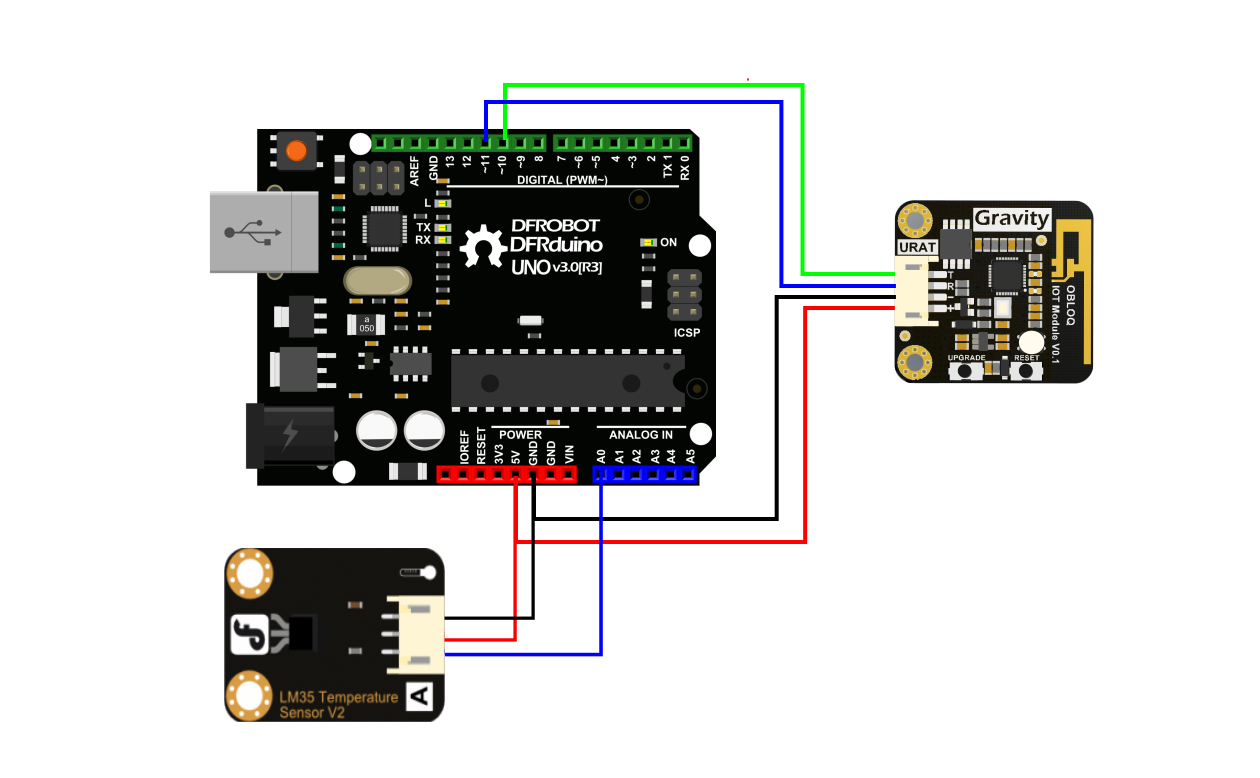Arduino OBLOQ and LM35 Module Connection