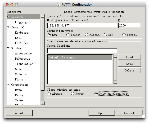 Fig8: config putty
