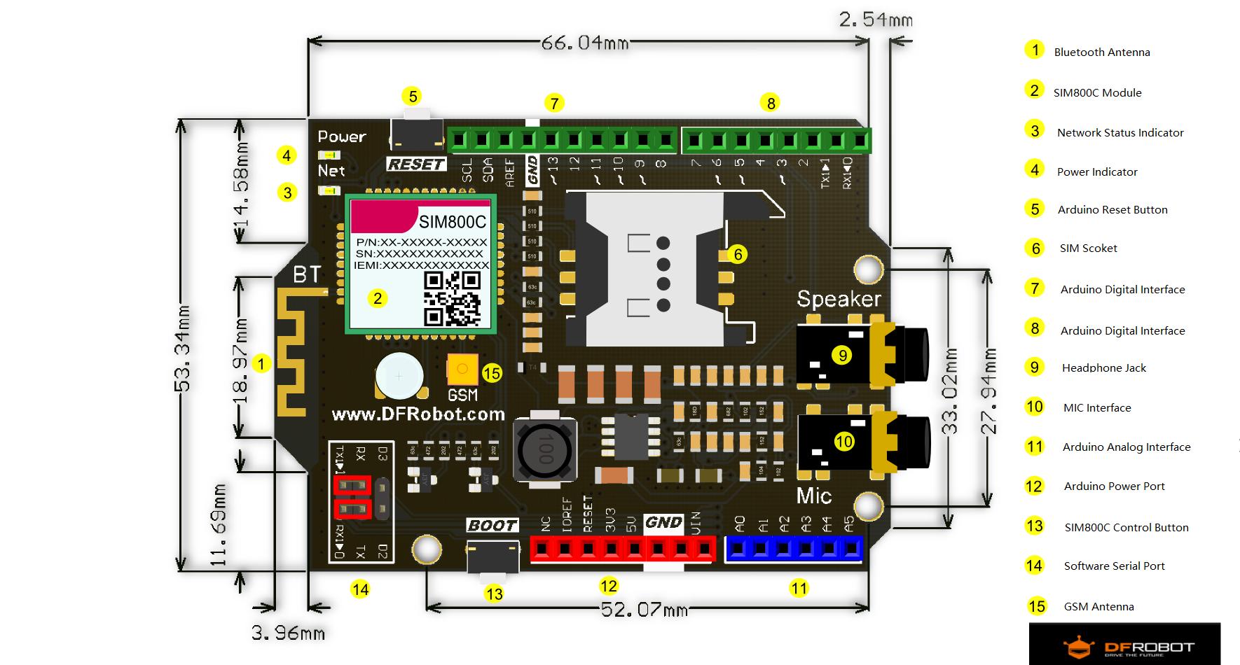 SIM800C GSM/GPRS Shield V2.0 SKU:TEL0089