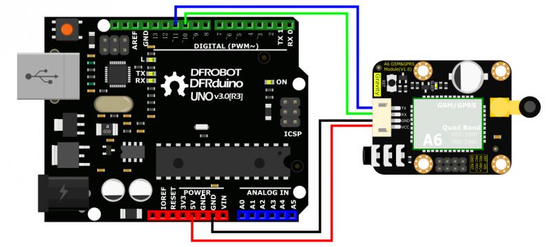 Arduino A6 GSM & GPRS Module Connection