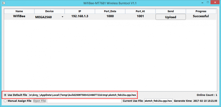 WiFiBee-MT7681 Wireless BurnTool