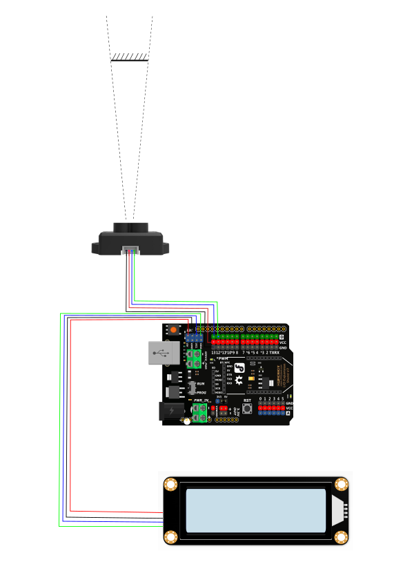 TF Mini LiDAR(ToF) Laser Range Sensor LCD Connection Diagram